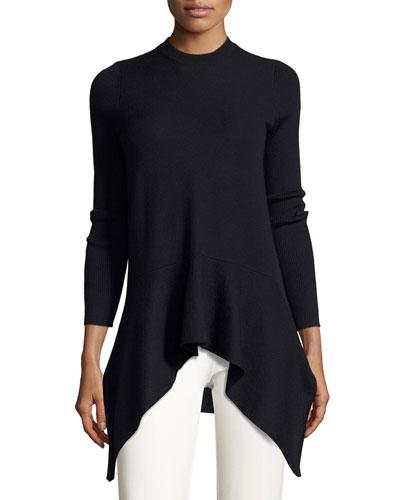 Long-Sleeve Crewneck Asymmetric Sweater, Navy