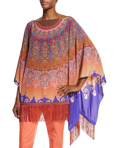 Mandala-Print Silk Poncho, Orange/Purple
