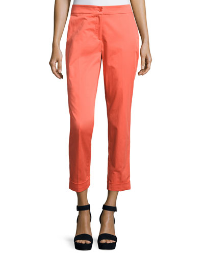 Cuffed Straight-Leg Capri Pants, Orange