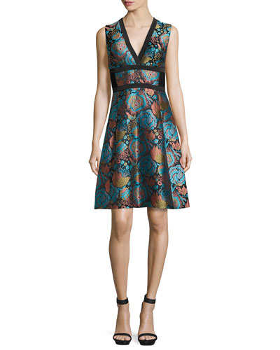 Floral Brocade V-Neck Corset Dress, Blue/Black/Turquoise
