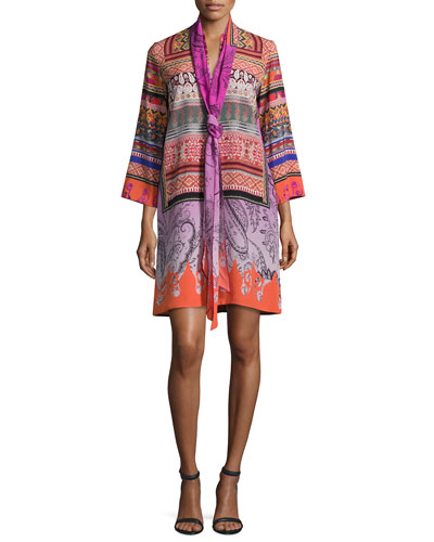 Printed Sash-Neck Tunic Dress, Multi