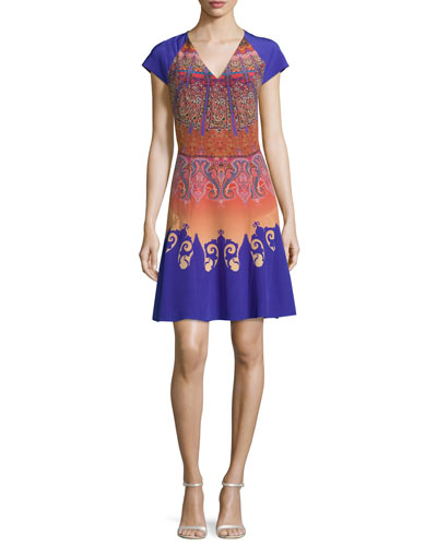 Marrakech-Print Cap-Sleeve A-Line Dress, Orange/Purple