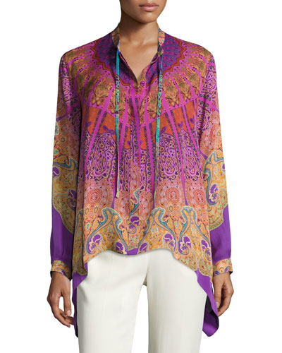 Mandala-Print High-Low Silk Blouse, Pink/Purple