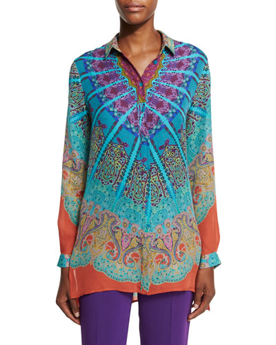 Mandala Printed Silk Tunic, Turquoise/Purple/Orange