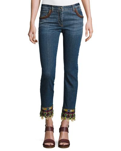 Tassel-Hem Denim Jeans, Denim