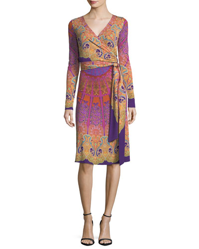 Mandala Jersey Wrap Dress