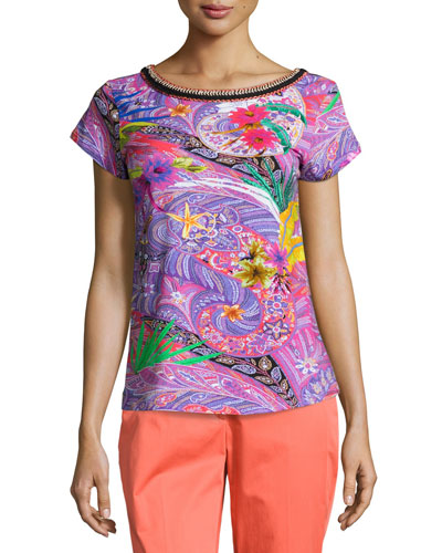 Embroidered-Neck Printed Tee, Magenta