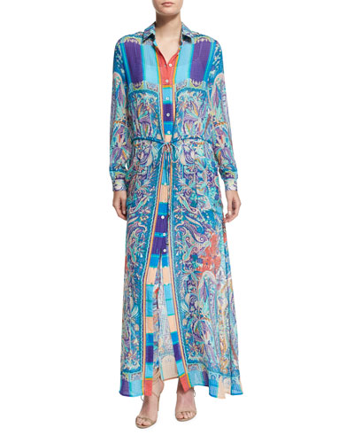 Paisley Seersucker Long-Sleeve Shirtdress, Turquoise
