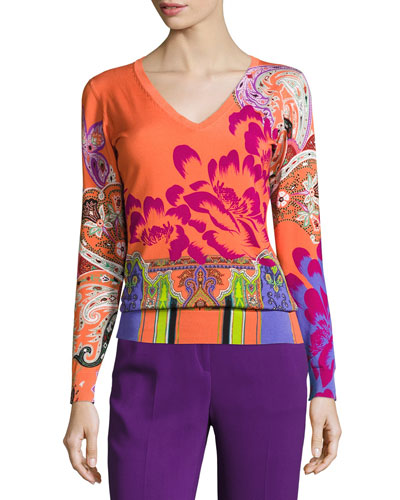 Stampa Paisley V-Neck Sweater, Orange/Purple