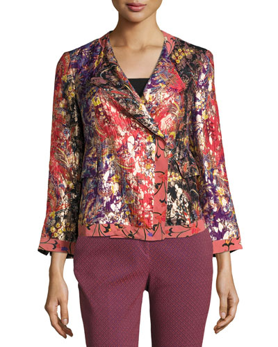 Foiled Floral-Print Jacket, Orange/Purple/Gold