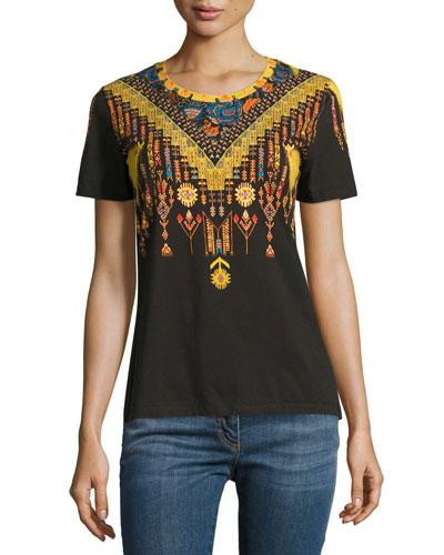 Geometric-Print Short-Sleeve T-Shirt, Black/Gold