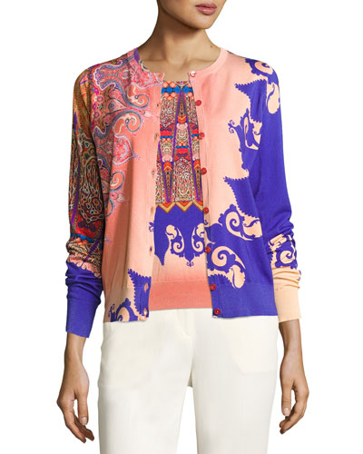 Marrakech-Print Stampa Knit Cardigan, Orange/Purple