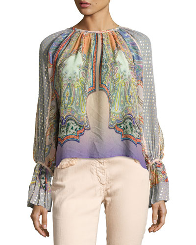 Paisley Flocked Peasant Blouse, Lilac/Peach