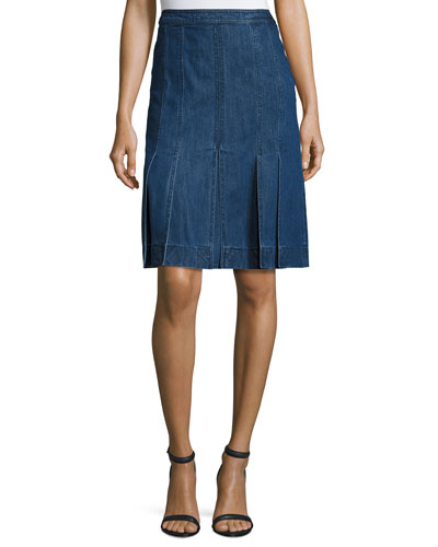 Pleated Denim A-Line Skirt, Maritime