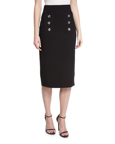 Button-Front Pencil Skirt, Black