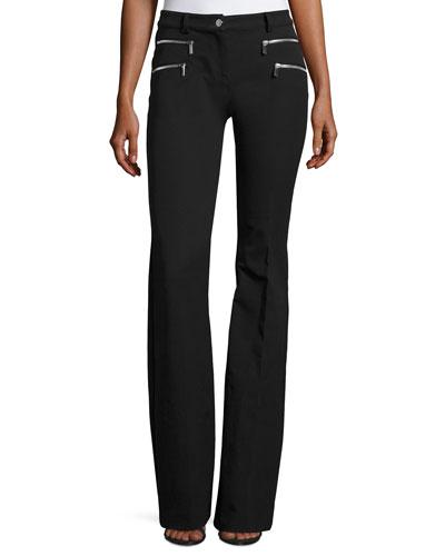 Zip-Pocket Flared Pants, Black
