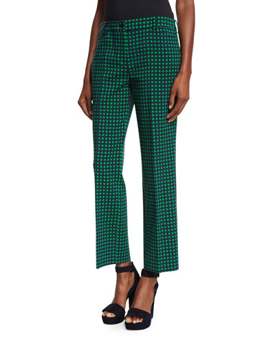 Polka-Dot Flared Ankle Pants, Maritime/Garden