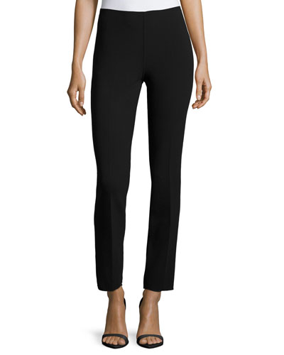 Skinny Side-Zip Ankle Pants, Black