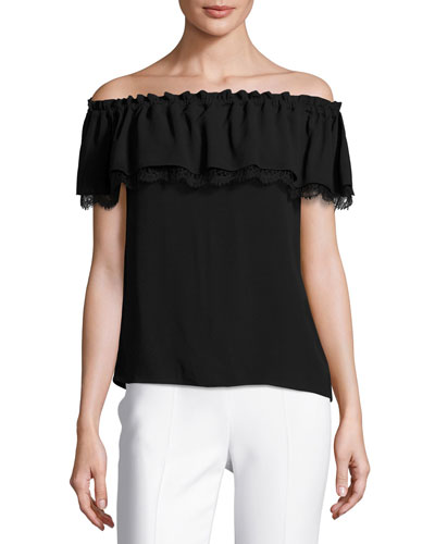 Lace-Trim Off-the-Shoulder Blouse, Black