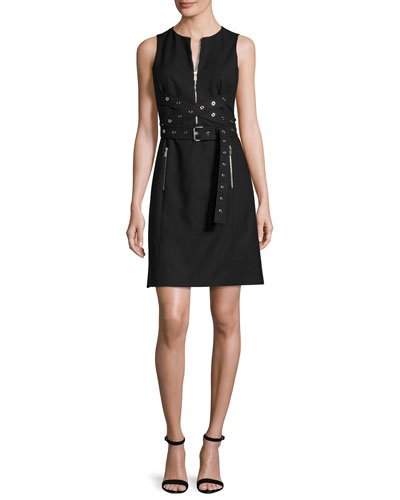 Grommet Wrap-Belt Shift Dress, Black