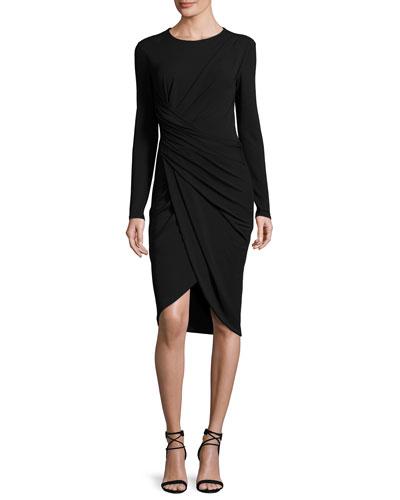Twisted Long-Sleeve Sheath Dress, Black