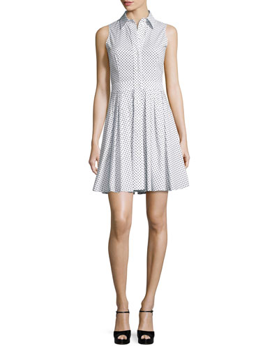 Polka-Dot Sleeveless Shirtdress, Optic White/Black
