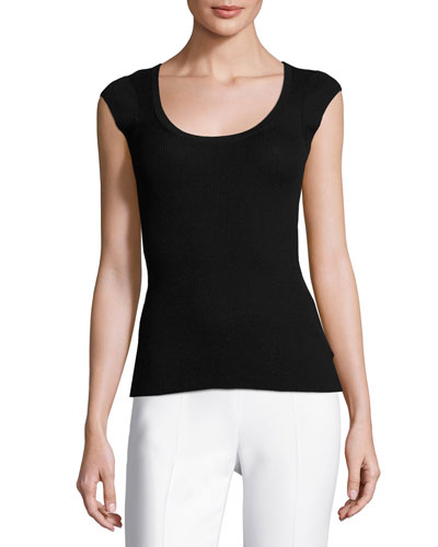 Cashmere Cap-Sleeve Scoop-Neck Sweater, Black
