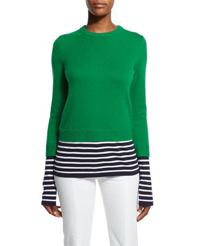 Layered Striped Crewneck Sweater, Garden