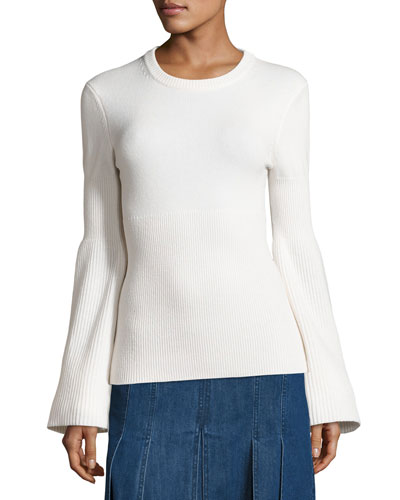 Cashmere Bell-Sleeve Ribbed Sweater, Navy