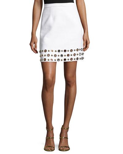 Grommet-Hem A-Line Skirt, White/Gold