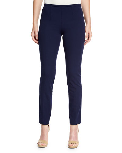 Side-Zip Skinny Pants, Maritime