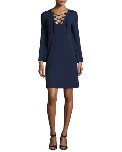 Grommet Lace-Up Long-Sleeve Tunic Dress, Maritime