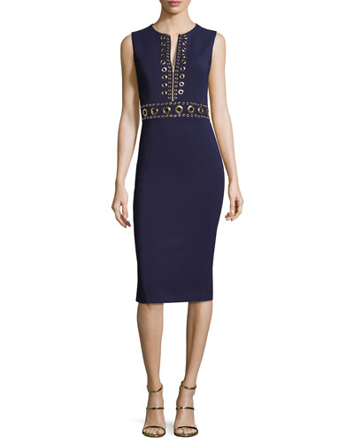 Grommet Zip-Front Sheath Dress, Maritime
