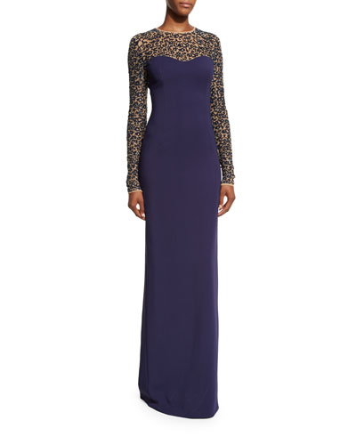 Sequined Lace Long-Sleeve Gown, Maritime