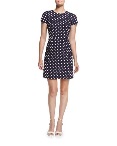 Polka-Dot Cap-Sleeve Mini Dress, Maritime/White