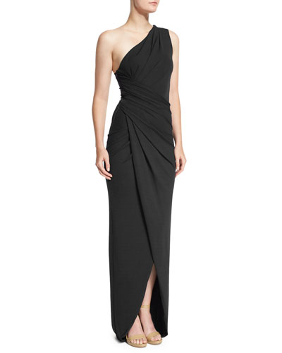 One-Shoulder Twisted Gown, Black