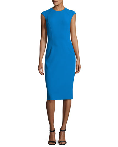 Cap-Sleeve Crewneck Sheath Dress, Wave