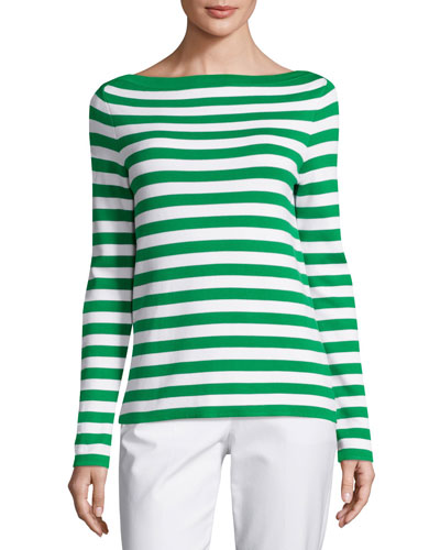 Striped Boat-Neck Sweater, Garden/White