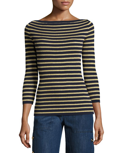 Metallic-Stripe Boat-Neck Sweater, Maritime/Gold