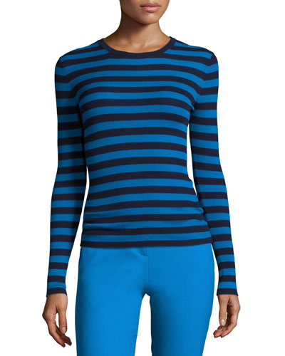 Striped Long-Sleeve Crewneck Sweater, Maritime/Wave