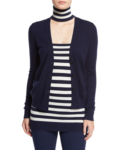 Cashmere V-Neck Button-Front Cardigan, Maritime