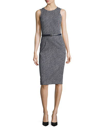 Belted Sleeveless Sheath Dress, Maritime/White