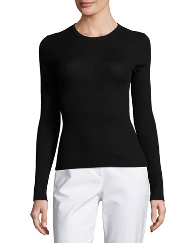 Long-Sleeve Cashmere Sweater, Black