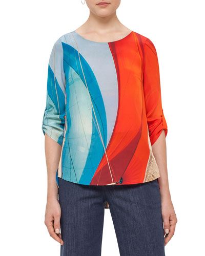 Alice Sail-Print 3/4-Sleeve Blouse, Mainsail Print