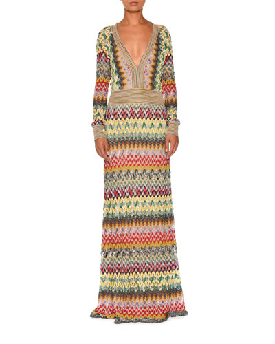 Striped-Trim Long-Sleeve Deep-V Gown, Multi