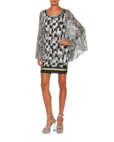 Butterfly-Sleeve Jacquard Mini Dress, Black/Multi
