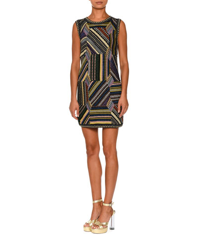 Sleeveless Crewneck Patchwork Dress, Black/Multi
