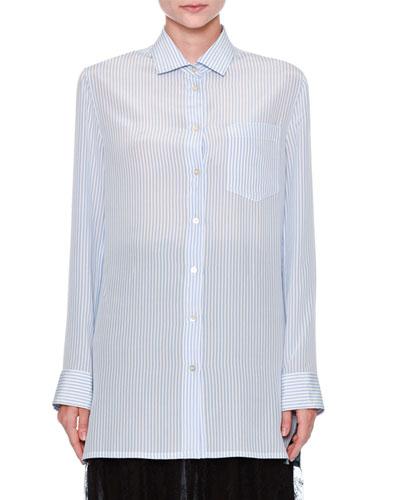 Striped Draped-Back Blouse, Blue/Multi