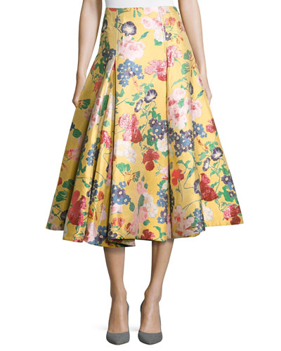 Romantic Garden Brocade A-Line Skirt, Yellow/Multi