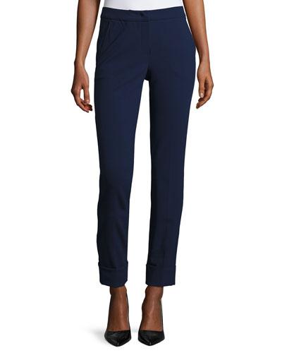 Micro-Jacquard Wide-Cuff Pants, Marino Blue